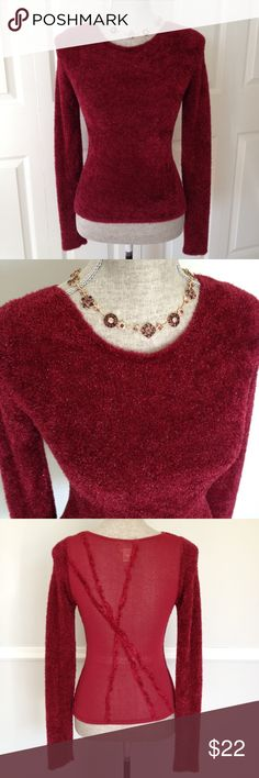 Cache Shimmery Sweater Beautiful shimmery vermillion red fuzzy sweater by Cache.  Sheer back with chic design. 60% rayon, 38% nylon, 2% polyester.  Fabric is stretchy and wears fitted for flattering, clean silhouette. Cache Sweaters Crew & Scoop Necks