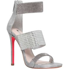 Carvela Globe Multi Strap Stiletto Sandals, Silver ($185) ❤ liked on Polyvore featuring shoes, sandals, high heels stilettos, multi-strap sandals, flat sandals, silver high heel sandals and strappy sandals