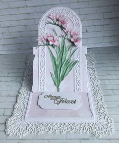 Tattered Lace Cards, Lace Flower Girls, Easel Cards, Carnations, 3 D, Projects To Try, Birthdays, Card Making, Handmade Cards