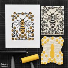 Bee: Original  BlockPrint by Andrea Lauren