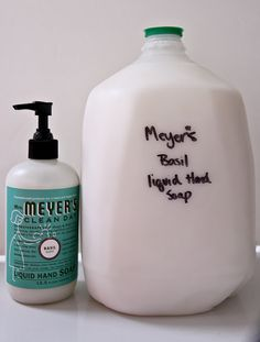 Homemade Liquid Soap.  Just combine 1 gal. Water, 2 T. Liquid glycerin ( find in pharmacy) and 1 bar of a good quality, natural soap; grated.  (Don't use soaps with additives like moisturizers, etc such as Dove-they won't work)  Heat over med/high heat until dissolved.   Cool 12 hours.  Mix with hand mixer to make a smooth consistency.  Voila!  Hand soap/body wash at a fraction of store cost.