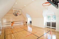 Mid-Country Tudor - traditional - Home Gym - Other Metro - Douglas VanderHorn Architects Home Basketball Court, Basketball Hoop, Basketball Cupcakes, Basketball Signs, Basketball Playoffs, Basketball Funny, Basketball Uniforms, Sports Basketball, Jd Sports
