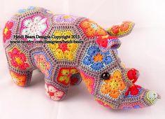 Thandi, African Flower Rhino crochet pat | Craftsy