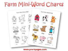 Printable Farm Word Charts for preschool and kindegarten