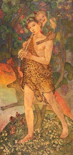 Pan, 1912 by Phoebe Anna Traquair (1852-1936)