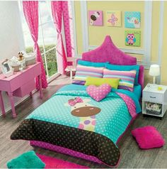 These 20 girls bedroom ideas help you in realizing a perfect little's dreamy space. Color preference, furniture ideas, and particular tips will be clearly described to create your daughter's room to be super attractive! Girl Bedroom Designs, Girls Bedroom, Bedroom Decor, Bedroom Ideas, Little Girl Rooms, Comforter Sets, Kids Room, Home, Brown Colors