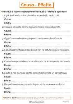 Causa - Effetto: Schede Didattiche per la Scuola Primaria | PianetaBambini.it Italian Language, Learning Italian, Primary School, Social Platform, Speech Therapy, Problem Solving, Kids And Parenting, Improve Yourself, Coding