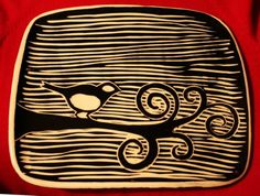 MustacheCatDesigns on Etsy Little Chick Silhouette Tray click the image for more details. Clay Tiles, Ceramic Clay, Ceramic Plates, Ceramic Pottery, Sgraffito, Pottery Classes, Pottery Designs, Clay Projects, Bird Art