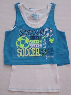 NWT Justice Girls Soccer Aqua Blue + White Tank Top Shirt Size 8 10 12 16 18 NEW