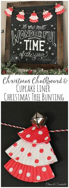 Christmas DIY: Illustration Description Cute Christmas chalkboard and cupcake liner Christmas tree bunting! Merry Little Christmas, Christmas Love, Winter Christmas, All Things Christmas, Xmas, Christmas Projects, Holiday Crafts, Holiday Fun, Holiday Decor