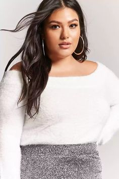 0216df36236 Product Name Plus Size Fuzzy Off-the-Shoulder Sweater