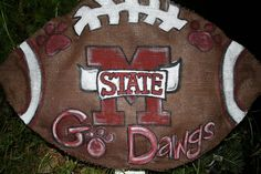 MSU Bulldogs Hand Painted Burlap Door Hanger by PokadotPenguin, $22.00