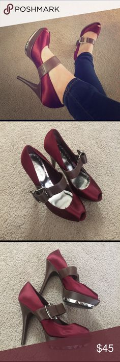 BCBG Peep Toe Mary Jane Pumps These pumps are super chic! Worn once to an event, they are still in really good condition. BCBGirls Shoes Heels