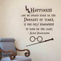 Happiness Can Be Found Even In The Darkest of Times  Albus Dumbledore Harry Potter Vinyl Wall Decal Hogwarts Nursery Teens Room Decor Whitem * Learn more by visiting the image link.