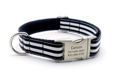 Cabana Stripe Dog Collar with Laser Engraved Personalized Buckle - BLACK