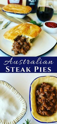 There are so many Meat Pie Recipes around the world, and the Aussie Steak Pie is one of my favorites! A beef meat pie with chunks of steak braised in a red wine gravy with fresh rosemary. So simple to make! Australian Meat Pie, Aussie Food, Aussie Pie, Australian Recipes, Easy Pie Recipes, Cooking Recipes, Cooking Bread, Cooking Oil, Cooking Light