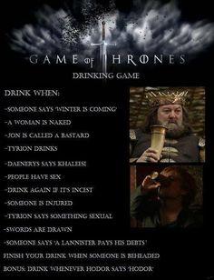 Game of Thrones Drinking Game @Portia Lipani