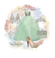 """""""If I was a Princess"""" by trulygirlygirl ❤ liked on Polyvore featuring Epoque, Christian Louboutin, Swarovski, Olivia Collings Antique Jewelry, Rodo, ballgown, princess, dream, gown and diamonds"""