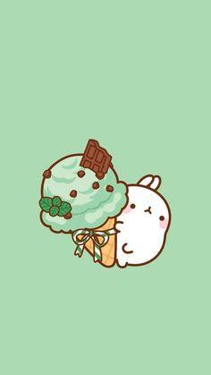 Molang with mint chocolate chip ice cream! Arte Do Kawaii, Kawaii Art, Cute Kawaii Drawings, Cute Animal Drawings, Japon Illustration, Cute Illustration, Kawaii Wallpaper, Wallpaper Iphone Cute, Trendy Wallpaper