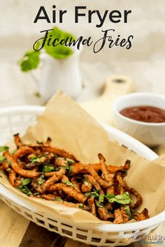 This Air Fryer Jicama Fries recipe is a healthy and delicious alternative to greasy unhealthy fries! Low Carb Recipes, Cooking Recipes, Healthy Recipes, Healthy Fries, Barbacoa, Jicama Recipe, Jicama Fries, Crockpot, Actifry Recipes