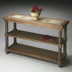 Butler Specialty Company Console Table - Mountain Lodge - 7051120. Butler Specialty Company Console Table - Mountain Lodge - 7051120 This elegant console table is handcrafted from gemelina wood solids with maple veneer on the base and shelf panels, and a sophisticated linen fabric inlay with.. . See More Console Tables at http://www.ourgreatshop.com/Console-Tables-C694.aspx