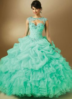 >> Click to Buy << vestido de 15 anos curto 89048 Quinceanera Dresses Mint Pink Lilac Organza Ball Gowns Cap Sleeve Prom Dresses 2015 New #Affiliate