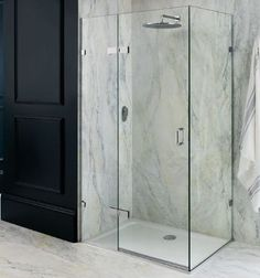 Frameless Portofino is shown as a frameless corner shower enclosure with an in-line panel, surrounding a white shower tray. Bathroom Shower Enclosures, Frameless Shower, Glass Hinges, Cast Iron Bath, Stone Bathroom, Master Bathroom, Pivot Doors, Shower Cubicles, Shower Screen