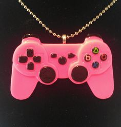 Hot Pink Gamer Girl Resin Video Game Controller Necklace #playstation