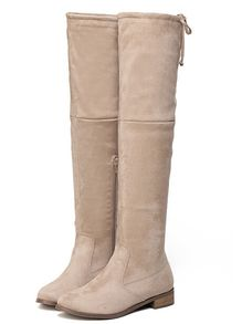 Apricot Zipper Over The Knee Boots