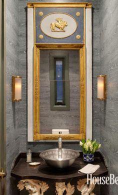 POWDER ROOM Nobilis faux-bois wallpaper hung horizontally   cynthia reccord