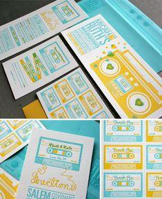 invitation, music, letterpress ... Music inspired baby shower for Sophiya