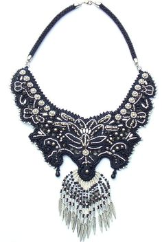 Bead Embroidery  Bead crochet  Statement jewelry  Collar Necklace   Unique  Fashion  Black Silver Platinum