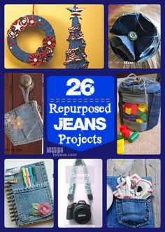 26 Repurposed Jeans Projects - Denim coasters, placemats, quilts, Christmas tree skirts, wreaths, and more.