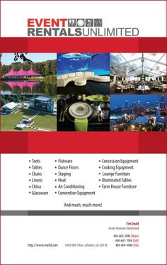 Event Rentals Unlimited Ad: Inside Back Cover Of The 2014 15 Issue Of The