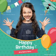 Birthday Wishes With Photo, Birthday Wishes For Daughter, Happy Birthday, Yellow Balloons, Online Greeting Cards, Happy Brithday, Urari La Multi Ani, Happy Birthday Funny, Happy Birth