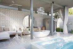 Dreamy summer inspiration in Carousel Grey. Unique Tile, Tile Stores, Encaustic Tile, Mosaic Tiles, Cement Tiles, Bath Fixtures, Style Tile, Quartz Countertops, Tile Design