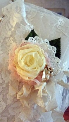 Bertha's Blooms...Mori Girl Brooch Hair Accessory Flower Pin by BerthaLouiseDesigns  $18.95  Lots of love and vintage went into this lovely, vintage velvet leaves, vintage doily and vintage pearl and brushed gold element to give just the right touch... handmade chiffon rose and tattered blush pink chiffon rose with crinkled French binding ribbon.... such a sweet and versatile accessory...