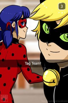 Tag Team Miraculous Ladybug and Chat/Cat Noir Snap Chat haha