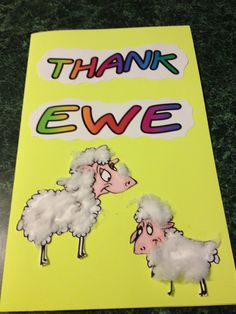 My sunday school kids made this card for our pastor appreciation day. Inside we glued their handshapes cut from black construction paper (glued cotton on) to look like sheep