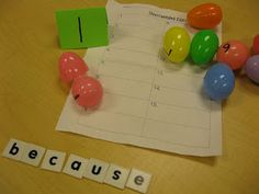 Easter egg sight word unscramble around the room