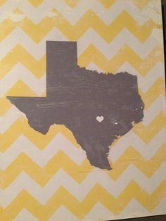 Grey Heart of Texas (Austin) with yellow chevron on canvas.