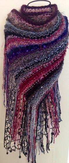 hand knit shawl made of 40 diff. yarns