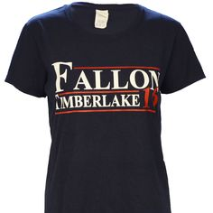 Ladies Cut - Fallon Timberlake for President 2016 on a Ladies Navy Short Sleeve T Shirt