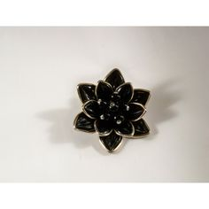 Vintage Black Glass Flower Brooch U3372 Retro ($29) ❤ liked on Polyvore featuring jewelry and brooches