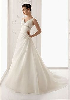 Crystals Timeless V-neck Chapel Train Empire Waist Wedding Dress picture 1