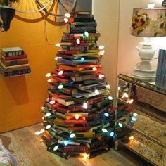 Christmas tree made from old books..
