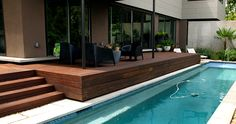 Bamboo decking from dasso. Swimming Pool Designs, Swimming Pools, Bamboo Decking, Moso Bamboo, Mini Pool, Landscape Architecture, Around The Worlds, Exterior, Gallery
