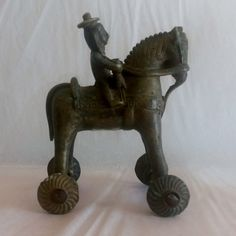 Brass horse on wheels -Vintage Indian artifact.Indian art,brass…