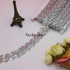 YACKALASI Laser Sequined Ribbon Lace Gold Silver flower Apparel Sewing Trims Clothes Accessories Embroidery Braid 1''Wide-Pur