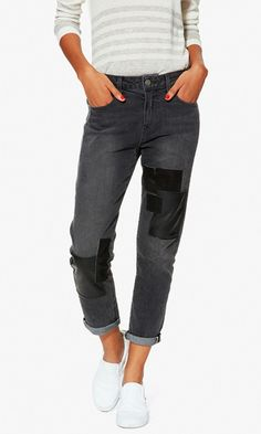 leather-patched boyfriend jeans